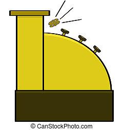 Cash register - Cartoon illustration of an old model cash...