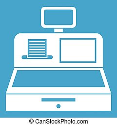 Cash register with cash drawer icon white