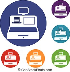 Cash register with cash drawer icons set
