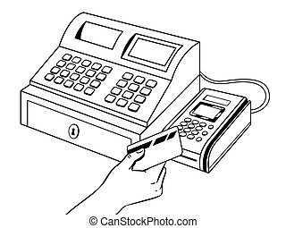Cash register with pos terminal coloring book