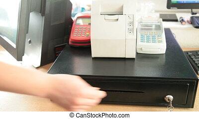 Cash register with Ukraine money