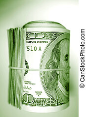 Cash - Roll of U.S. banknotes