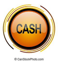 cash round design orange glossy web icon