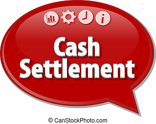 Cash Settlement  Business term speech bubble illustration