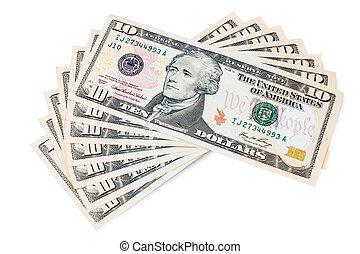 Cash - Ten dollar bills isolated on white background