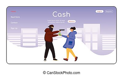 Cash theft landing page flat color vector template. Thief ...