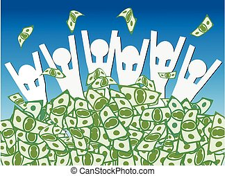 Cash Windfall - Group of happy people waist deep in pile of...