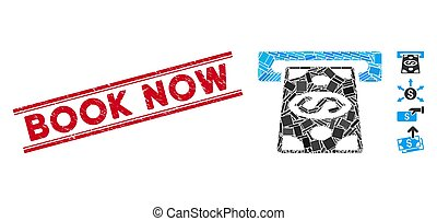 Cash Withdraw Mosaic and Grunge Book Now Stamp Seal with Lines