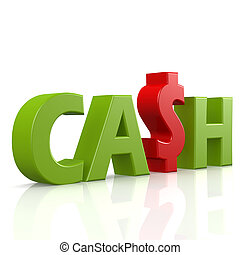 Cash word in green image with hi-res rendered artwork that...