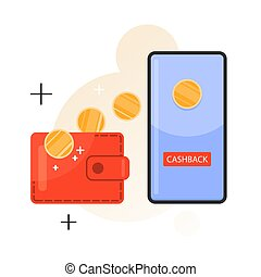 Cashback from purchase conept. Money falling in the wallet. Coin transfer from the smartphone. Financial reward. Idea of finance and economy. Isolated vector flat illustration