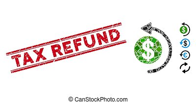 Cashback Mosaic and Scratched Tax Refund Stamp with Lines