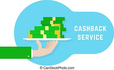 cashback service like hand with money. flat cartoon trend ...