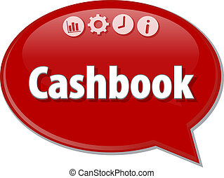Cashbook   Business term speech bubble illustration