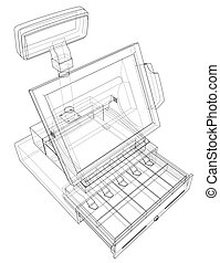Cashbox with touch screen concept. Vector