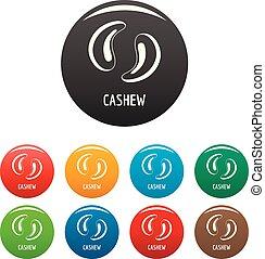 Cashew icons set color