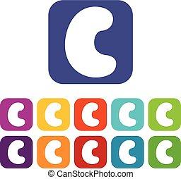 Cashew icons set flat