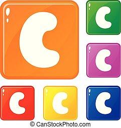 Cashew icons set vector color
