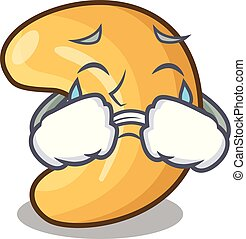 cashew noten, warme, het schreeuwen, tafel, bakt, spotprent