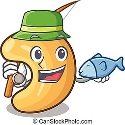 cashew noten, warme, visserij, tafel, bakt, spotprent