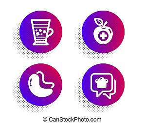 Cashew nut, Medical food and Frappe icons set. Cooking hat sign. Vegetarian food, Apple, Cold drink. Chef. Vector