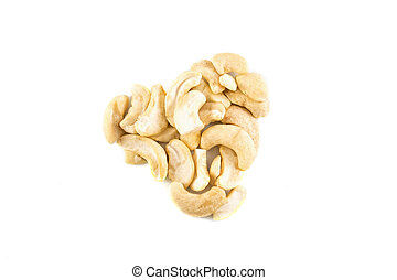 cashew nuts in a heart shape isolated on white background