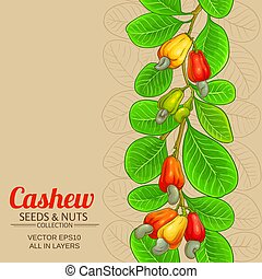 cashew vector background - cashew vector pattern on color ...