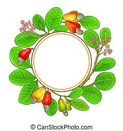 cashew vector frame on white background
