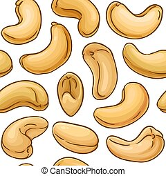 cashew vector pattern on white background