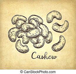cashews., poignée