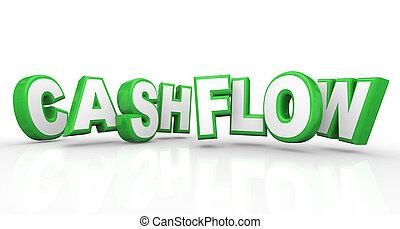cashflow, bach, einkünfte, geld, einkommen, wörter, einkommen, 3d