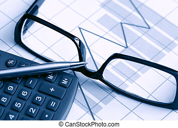 Cashflow Forecast - Business concept. Calculator and...