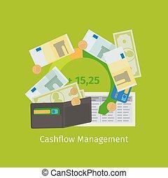 Cashflow management cartoon illustration