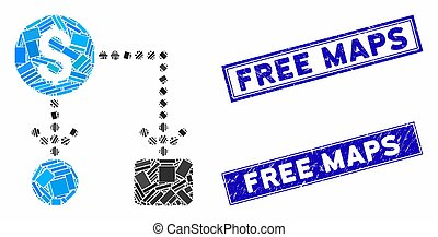 Cashflow Mosaic and Distress Rectangle Free Maps Stamps