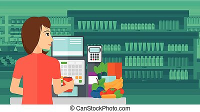 A cashier at supermarket counter with vegetables and fruits on the background of supermarket shelves with products vector flat design illustration. Horizontal layout.