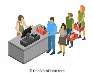 Cashier concept background, isometric style