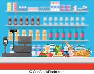 Cashier counter workplace. Supermarket interior