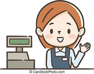 cashier girl in supermarket. Clipart image isolated on white background