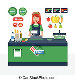 Cashier girl prepares purchasing at supermarket store....