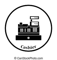Cashier icon. Thin circle design. Vector illustration.