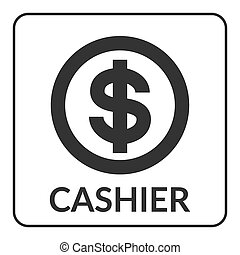 Cashier icon with dollar sign