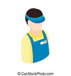 Cashier in supermarket icon, isometric 3d style