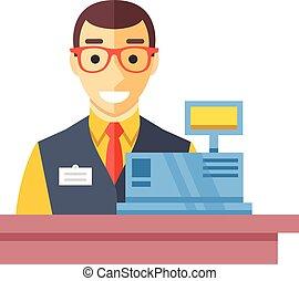 Cashier man at checkout counter. Counter desk, cash register and happy clerk. Checkout concept. Flat vector illustration