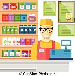 Cashier man at supermarket checkout. Supermarket store counter desk, cash register, certificates, shelves with food. Flat design concept for web banners, web sites infographics. Vector illustration