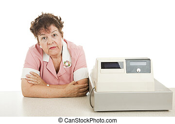 Cashier - Nothing to Do - Cashier bored because there are no...