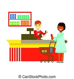 Cashier serving buyer at the cash register in supermarket. Shopping in grocery store, supermarket or retail shop. Colorful character vector Illustration