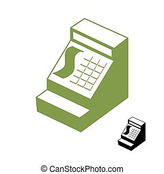 Cashier symbol. Cash register sign. Accounting money in store. Sign in one color. Machine counting money shop.