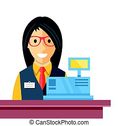 Cashier woman at checkout counter. Counter desk, cash register, till and smiling happy female clerk. Creative checkout concept. Modern flat vector illustration