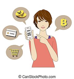 Cashless and Smartphone payment image, a woman holding a...