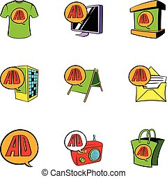 Cashpoint icons set, cartoon style - Cashpoint icons set....