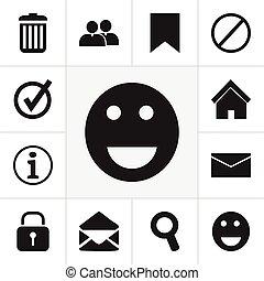casier, être, ensemble, emoji, mobile, icons., boîte, editable, utilisé, inclut, symboles, recycler, infographic, ui, toile, internet, étiquette, tel, more., 12, design.